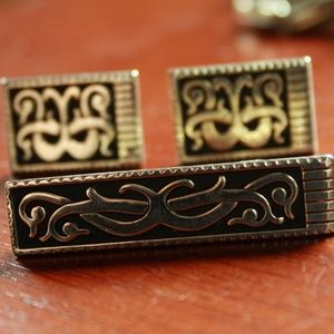 Other - Vintage Gold and Black Cuff Links and Tie Clip